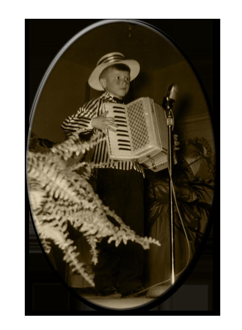 Accordionist Mario Bruneau at age 7